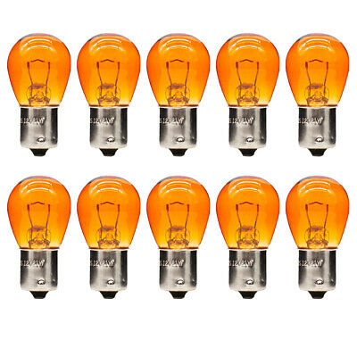 10x New 343 Straight Pins Amber Light Bulbs 12V 21W Cars Long Life
