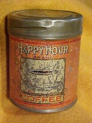 Vintage Happy Hour Coffee Tin Can Free Sample Campbell Holton Bloomington, IL
