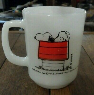 Fire King Snoopy Peanuts Doghouse I Think Im Allergic To Mornings Coffee Mug Cup