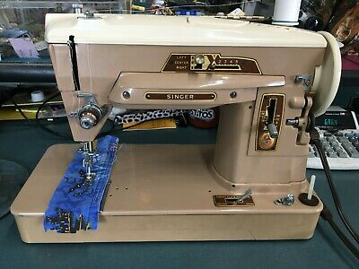 Vintage Singer Slant-O-Matic 403a Sewing Machine w/ Pedal, Power Cord, & Case