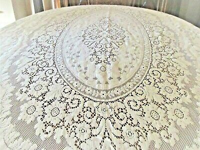 Ivory Floral Lace Tablecloth  Picot Loops, 64 X 88 Rectangle Cutter