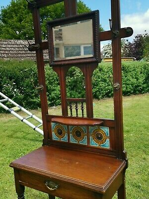 Antique Edwardian, mirrored & tiled wooden coat & hat Stand. No reserve!