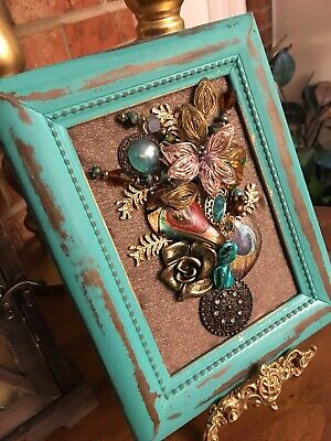 vintage jewelry art Floral Collage framed