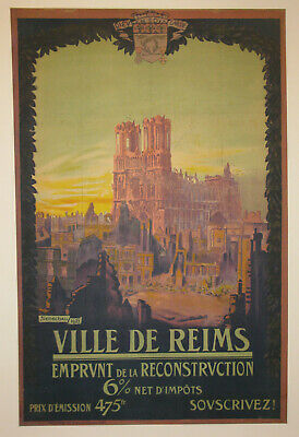 Original French cathedral travel poster linen First World War I 1921 Senechal