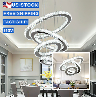 Modern LED Chandeliers Crystal Pendant Lamp Round Ceiling Light Ring Adjustable