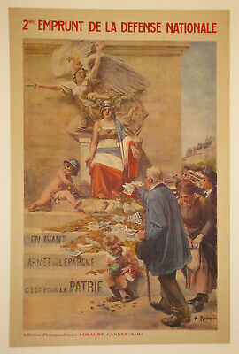 Original French bond poster linen WW1 First World War I WWI WW1 1916 Robaudi