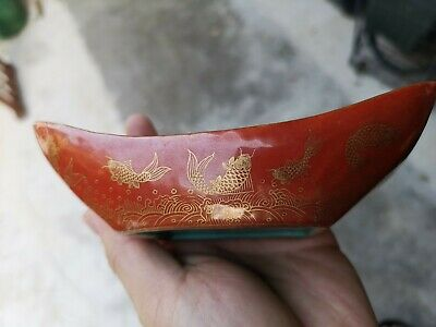 Antique Estate Old Chinese Gold Gilt Coral Red Boat Tray It Marked Asian China