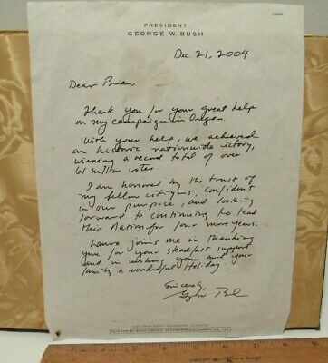 George W Bush Autograph Letter Signed  2004 Campaign Letter To Brian From Oregon