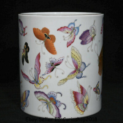 """6.4""""Qianlong Marked China Famille Rose Porcelain butterfly Brush Pot Pencil Vase"""