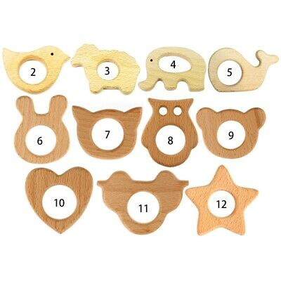 Wooden Animal Teether Teething Ring Natural Beech Wood Baby Rattle @hui