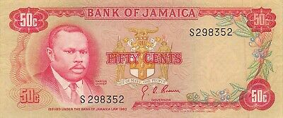Jamaica  50  Cents  ND. 1970  P 53a  Series S  Circulated Banknote SS5