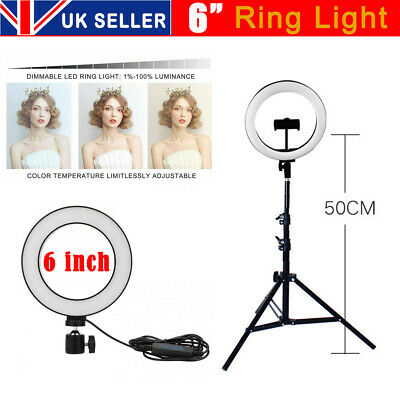 """6"""" LED Ring Light with Stand for Youtube Tiktok Makeup Video Live Phone Selfie"""