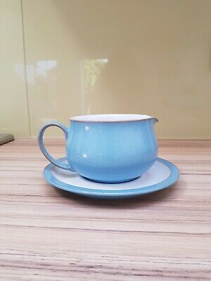 Denby  Blue Sauce Boat and plate