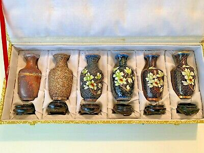 Vintage Beijing Cloisonne Vases/  Process  of Making in a Chinese Silk Case
