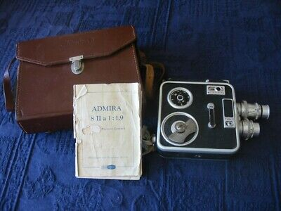 "Vintage Metal Bodied Meopta ""Admira 8 "" Wind-Up 8mm Cine Camera with Case"