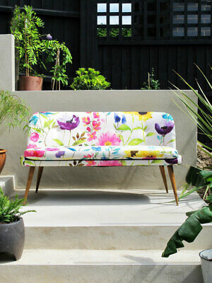 VINTAGE 2-SEATER COCKTAIL SOFA REUPHOLSTERED BLUEBELLGRAY midcentury 1950s