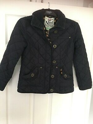 NEXT GIRLS NAVY BLUE QUILTED COAT, Age 11-12 Years, Good Condition