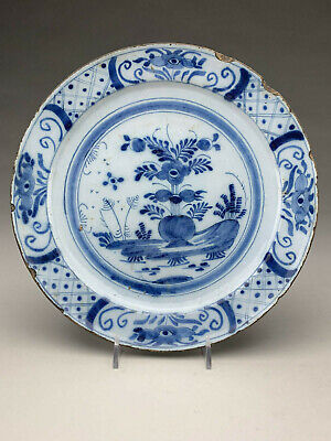 Good Antique Dutch Delft Pottery Plate Blue & White Chinoiserie