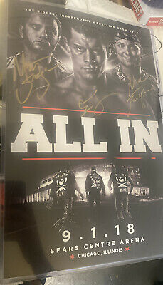 2018 All In Poster Signed Bullet Club Young Bucks  Cody Rhodes AEW Auto Print