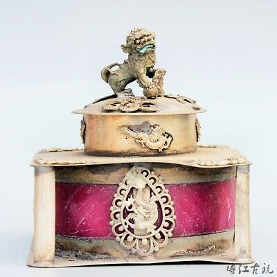 Collectable Old Miao Silver Armour Agate Carve Myth Dragon & Lion Luck Censer