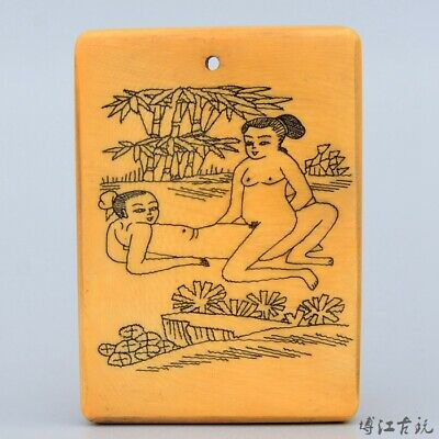 Collectable China Old 0x B0ne Hand-Carved Couple Life Unique Decorate Pendant