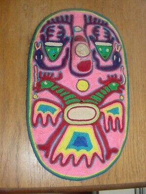 Vintage Huichol Indian Yarn Mask With Tribal Symbols From Mexico