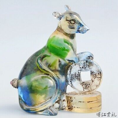 Collect China Old Coloured Glaze Hand-Carved Mouse & Wealth Luck Snuff Bottle
