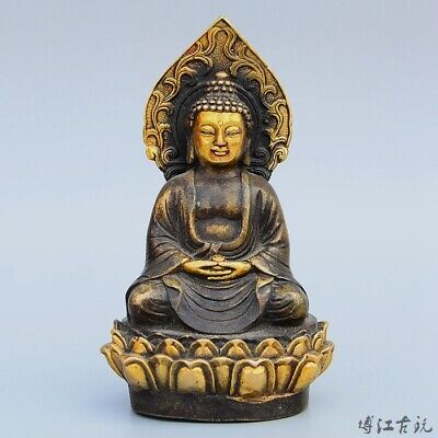 Collect China Old Bronze Hand-Carved Buddhism Kwan-Yin Auspicious Decor Statue