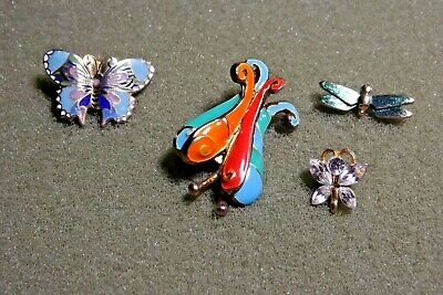 Butterfly Dragonfly Flying Insect Lapel Pin Brooch Lot (4) One Hallmarked Avon
