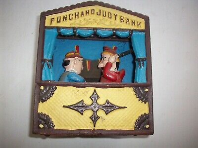 Vintage ( Reproduction ) Punch And Judy Cast Iron Mechanical Coin Bank