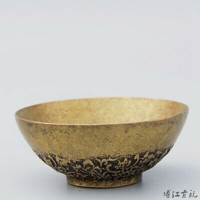 Collectable Old Bronze Hand-Carved Bloomy Flower Delicate Moral Bring Luck Bowl
