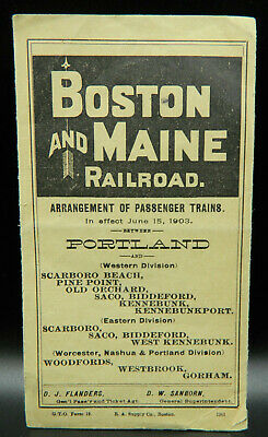 Original vintage 1903 BOSTON AND MAINE RAILROAD timetable / schedule Portland
