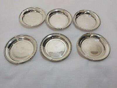 A Matching Set Of 6 Vintage Silver Plated Wine Glass Coasters.mirror finish.