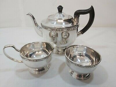 A Vintage Silver Plated Tea Set With Embossed Patterns By Viners Of Sheffield