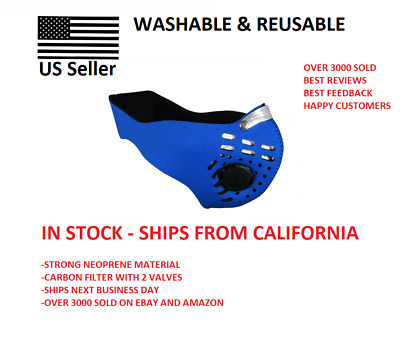 BLUE Premium Neoprene Face Mask With Carbon Filter ~ Washable, Reusable