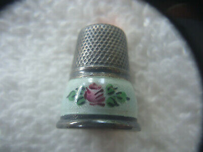 Antique Sterling Silver Guilloche Enamel Thimble With Irridescent Glass Top