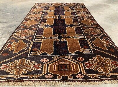 Authentic Hand Knotted Afghan Aksi Balouch Pictorial Wool Area Rug 5 x 3 Ft