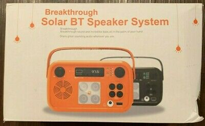 New Open Box Breakthrough Solar Bluetooth Speaker System Orange - Free Shipping!