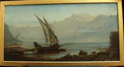 LARGE 19th CENTURY FISHING ON THE ITALIAN LAKES BY VILLA Antique Oil Painting