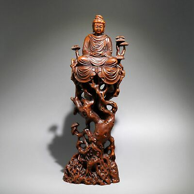 Collectable Antique Boxwood Hand Carve Sakyamuni Buddha Moral Bring Luck Statue