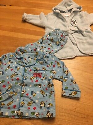Baby Boy Dressing Gown And Pjs Age 6-12 Months