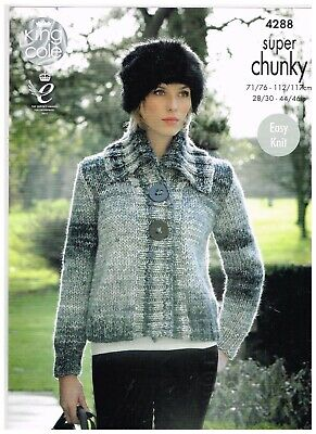 "King Cole Knitting Pattern Swing Cardigans 32-44/"" Chunky 3140 Ladies"