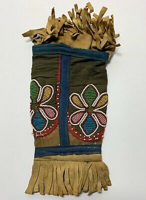 Antique NATIVE AMERICAN BEADED BAG POUCH 19th Century HIDE & TRADE CLOTH