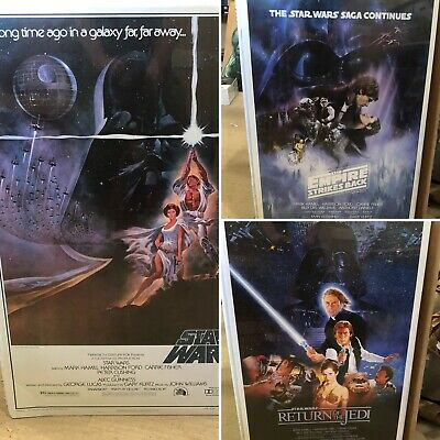 "ORIGINAL STAR WARS TRILOGY POSTER SET 24""x36"" A NEW HOPE, EMPIRE STRIKES BACK"