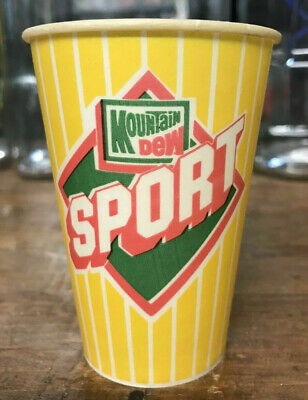 Super Rare Vintage Mountain Dew Sport Waxed Cup Nos Mt Dew Bottle Sign Crate