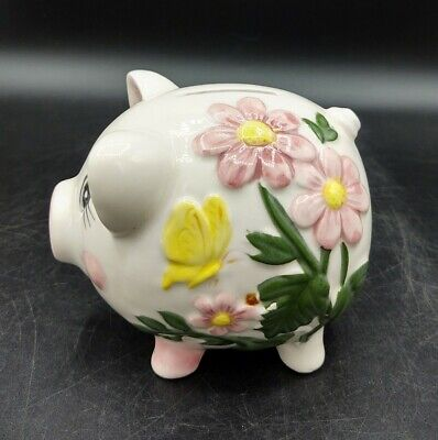 Vintage Ceramic Art Pottery Floral Piggy Coin Bank Hand Painted Japan