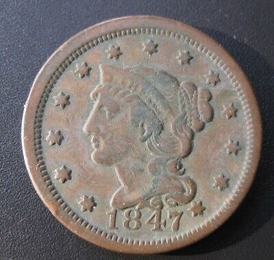 1847 Large Cent, Braided Hair, Early Copper Circulated 1Cent