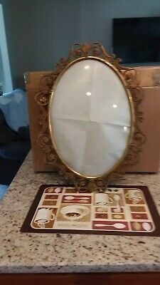 antique Convex Bubble GLASS OVAL  **fancy** BRASS Picture FRAME