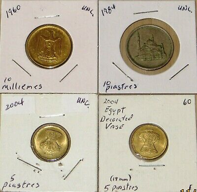 Egypt Uncirculated coin1960,1984 10 Milliemes( L910P1-4) 2004 5 Piastres Vase