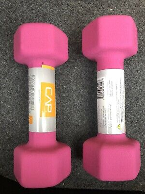 Two 5 Pound Weights CAP Neoprene Hex Dumbbell Hand Weight Pink